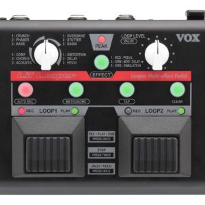 PEDAL DE FRASEO/LOOPING Pedal de efectos VOX con grabación de bucles. El Lil' Lopper ofrece un intuitivo diseño con dos pulsadores y un total de 90 segundos de grabación en dos loops independientes. Grabación en capas (Overdubbing) con función de deshacer/rehacer. Cuantización de loops y sincronización entre los dos loops. 12 efectos: Comp